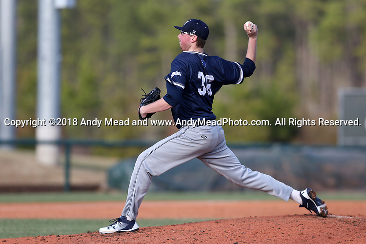 CARY, NC - FEBRUARY 23: Monmouth's Ricky Dennis. The Monmouth University Hawks played the Saint John's University Red Storm on February 23, 2018 on Field 2 at the USA Baseball National Training Complex in Cary, NC in a Division I College Baseball game. St John's won the game 3-0.