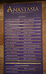 "Lobby cast board for ""Anastasia"" starring Christy Altomare and Cody Simpson at the Broadhurst Theatre on November 29, 2018 in New York City."