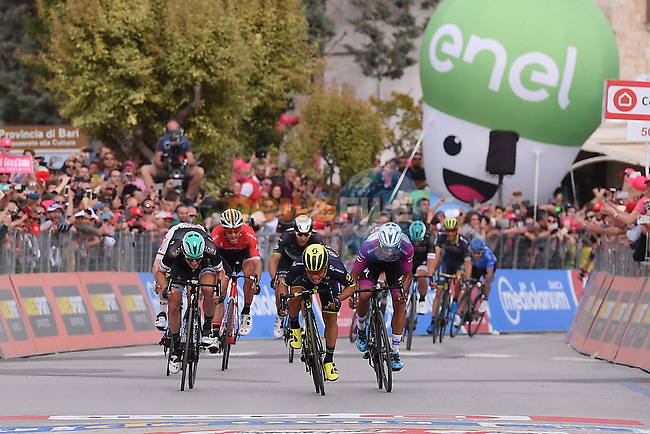 Caleb Ewan (AUS) Orica-Scott outsprints Fernando Gaviria (COL) Quick-Step Floors and Sam Bennett (IRL) Bora-Hansgrohe to win Stage 7 of the 100th edition of the Giro d'Italia 2017, running 224km from Castrovillari to Alberobello, Italy. 12th May 2017.<br /> Picture: LaPresse/Gian Mattia D'Alberto | Cyclefile<br /> <br /> <br /> All photos usage must carry mandatory copyright credit (&copy; Cyclefile | LaPresse/Gian Mattia D'Alberto)