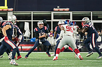FOXBORO, MA - OCTOBER 10: New England Patriots Quarterback Tom Brady (12) steps up to pass during a game between New York Giants and New England Patriots at Gillettes on October 10, 2019 in Foxboro, Massachusetts.