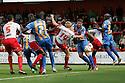 Mark Roberts of Stevenage goes close.  Stevenage v Shrewsbury Town - npower League 1 -  Lamex Stadium, Stevenage - 1st September, 2012. © Kevin Coleman 2012.