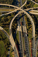Aerial view of Charlotte highways. Image shows intersection of I-485 and I-77.