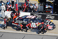Sept. 27, 2008; Kansas City, KS, USA; NASCAR Nationwide Series driver Denny Hamlin pits during the Kansas Lottery 300 at Kansas Speedway. Mandatory Credit: Mark J. Rebilas-