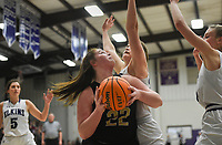 Charleston forward Rylee Ross (22) drives the ball, Friday, February 14, 2020 during a basketball game at Elkins High School in Elkins. Check out nwaonline.com/prepbball/ for today's photo gallery.<br /> (NWA Democrat-Gazette/Charlie Kaijo)