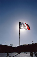 Flag flting in the zocalo (main square) of Mexico City 3-10-04