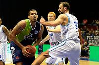 GRONINGEN - Basketbal, Donar - ZZ Leiden, Supersup, seizoen 2018-2019, 06-10-2018,  Leiden speler Kenneth Simms met Donar speler Drago Pasalic