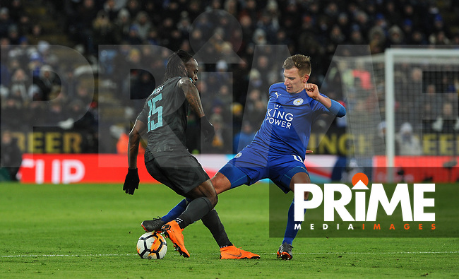 Marc Albrighton of Leicester City & Victor Moses of Chelsea during the FA Cup QF match between Leicester City and Chelsea at the King Power Stadium, Leicester, England on 18 March 2018. Photo by Stephen Buckley / PRiME Media Images.