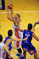 James Paringatai in action during the national basketball league match between Wellington Saints and Southland Sharks at TSB Bank Arena, Wellington, New Zealand on Monday, 1 June 2015. Photo: Dave Lintott / lintottphoto.co.nz