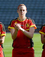 20140410 - BRUSSELS , BELGIUM : Belgian Britt Vanhamel pictured during the female soccer match between BELGIUM U19 and GERMANY U19 , in the third and final game of the Elite round in group 4 in the UEFA European Women's Under 19 competition 2014 in the Koning Boudewijn Stadion , Thursday 10 April 2014 in Brussels . PHOTO DAVID CATRY
