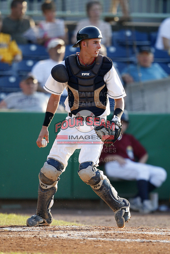 June 24, 2009:  Catcher Dwight Childs of the Mahoning Valley Scrappers during a game at Eastwood Field in Niles, OH.  The Scrappers are the NY-Penn League Short-Season Single-A affiliate of the Cleveland Indians.  Photo by:  Mike Janes/Four Seam Images