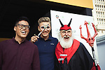 Marcel Kittel (GER) with Didi the Devil at the welcome ceremony at the foot of the monumental Shanghai Oriental Pearl Tower, before the 2017 Tour de France Skoda Shanghai Criterium, Shanghai, China. 28th October 2017.<br /> Picture: ASO/Pauline Ballet | Cyclefile<br /> <br /> <br /> All photos usage must carry mandatory copyright credit (&copy; Cyclefile | ASO/Pauline Ballet)