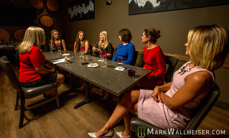 Lobbyist, from left, Christina Johnson, moderator, Samantha Sexton, Monica Rodriguez, Andrea Reilly, talking, Keyna Cory, Jan Gorrie and Sarah Busk participate during a Florida Women Lobbyist round table at the Blue Halo Restaurant in Tallahassee, Florida.
