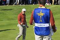 Sergio Garcia (Team Europe) sinks his birdie putt to win the match on the 17th green during Saturday's Fourball Matches at the 2018 Ryder Cup 2018, Le Golf National, Ile-de-France, France. 29/09/2018.<br /> Picture Eoin Clarke / Golffile.ie<br /> <br /> All photo usage must carry mandatory copyright credit (&copy; Golffile | Eoin Clarke)