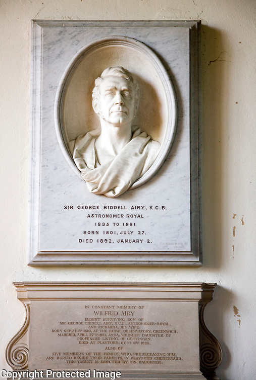 Memorial bust statue to Sir George Biddell Airy, astronomer Royal 1835 to 1881, UK