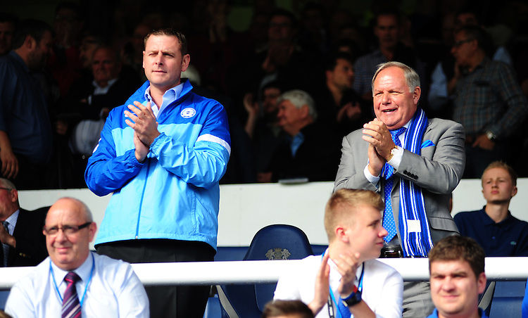 Peterborough United chairman Darragh MacAnthony, left, and Peterborough United director of football Barry Fry<br /> <br /> Photo by Chris Vaughan/CameraSport<br /> <br /> Football - The Football League Sky Bet League One - Peterborough United v Preston North End - Saturday 5th October 2013 - London Road - Peterborough<br /> <br /> &copy; CameraSport - 43 Linden Ave. Countesthorpe. Leicester. England. LE8 5PG - Tel: +44 (0) 116 277 4147 - admin@camerasport.com - www.camerasport.com