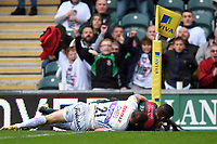Jonny May of Leicester Tigers crosses the try-line. Aviva Premiership match, between Leicester Tigers and Exeter Chiefs on September 30, 2017 at Welford Road in Leicester, England. Photo by: Patrick Khachfe / JMP