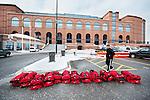 players bags outside of Crisler in Ann Arbor