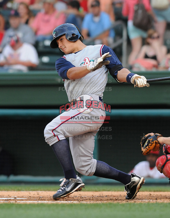 June 11, 2009: Infielder Thomas Field (11) of the Asheville Tourists, Class A affiliate of the Colorado Rockies, in a game against the Greenville Drive at Fluor Field at the West End in Greenville, S.C. Photo by: Tom Priddy/Four Seam Images