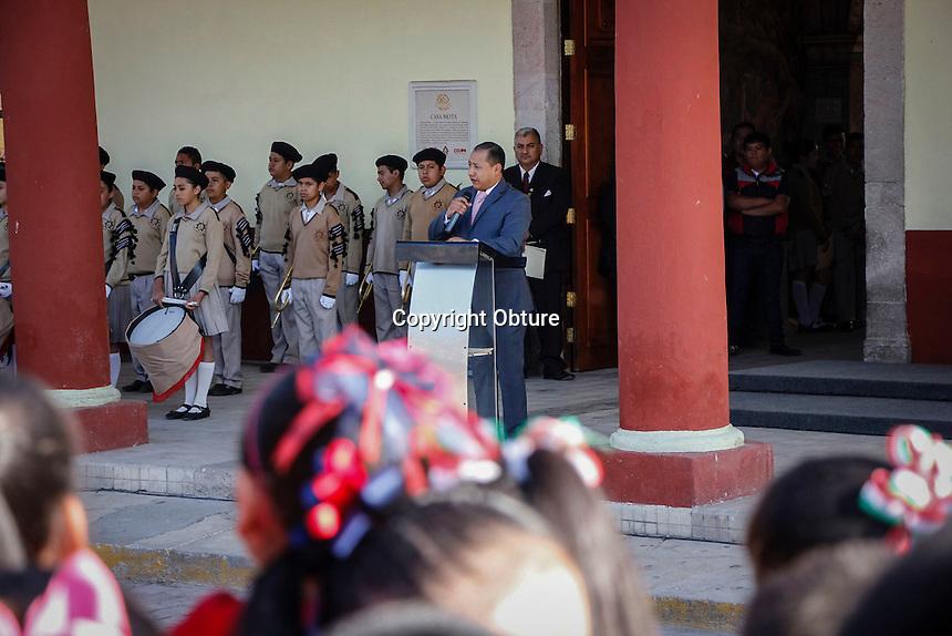Col&oacute;n, Quer&eacute;taro.- 13 de septiembre de 2016.- El Alcalde de Col&oacute;n, Alejandro Arteaga; encabez&oacute; los honores a prop&oacute;sito del CLXIX aniversario de la Batalla de Chapultepec, donde perdieran la vida los reconocidos Ni&ntilde;os H&eacute;roes.<br /> <br /> Foto: Obture.