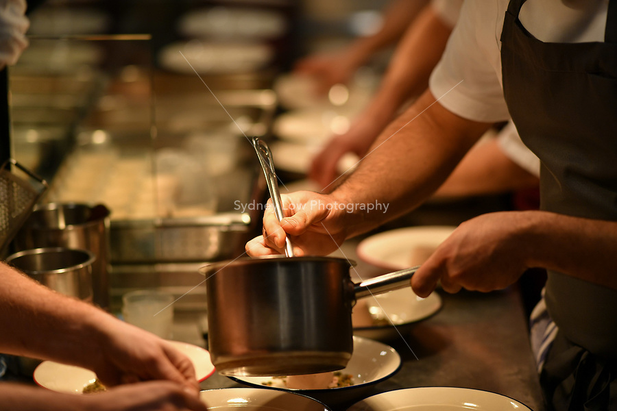 MELBOURNE, 30 June 2017 – Simon Consentino plates up a dish of chicken liver royale, Le Puy green lentils and black truffle by Sasha Randle at a dinner celebrating Philippe Mouchel's 25 years in Australia with six chefs who worked with him in the past at Philippe Restaurant in Melbourne, Australia.