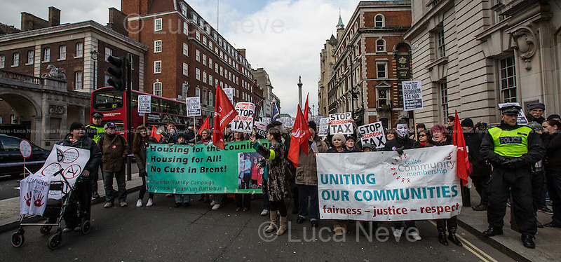 London, 30/03/2013. Today, hundreds of protesters gathered in Trafalgar Square to demonstrate against the new series of Government cuts on housing benefits renamed by the Labour Party as the &quot;bedroom tax&quot;. The protesters then moved to Whitehall to hold a peaceful rally outside Downing Street.<br />
