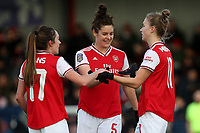 Vivianne Miedema of Arsenal (R) scores the third goal for her team and celebrates with her team mates during Arsenal Women vs Bristol City Women, Barclays FA Women's Super League Football at Meadow Park on 1st December 2019