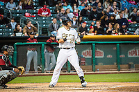 Jett Bandy (27) of the Salt Lake Bees at bat against the Sacramento River Cats in Pacific Coast League action at Smith's Ballpark on April 17, 2015 in Salt Lake City, Utah.  (Stephen Smith/Four Seam Images)