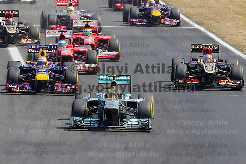 Petronas Mercedes F1 Formula One driver Lewis Hamilton of Great Britain starts from pole position and wins the Hungarian F1 Grand Prix in Mogyorod (about 20km north-east from capital city Budapest), Hungary on July 28, 2013. ATTILA VOLGYI