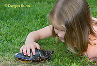 1R14-524z  Child looking at Painted Turtle, Chrysemys picta, PRA