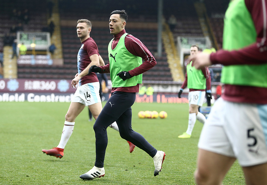 Burnley's Dwight McNeil during the pre-match warm-up <br /> <br /> Photographer Rich Linley/CameraSport<br /> <br /> The Premier League - Burnley v Everton - Wednesday 26th December 2018 - Turf Moor - Burnley<br /> <br /> World Copyright © 2018 CameraSport. All rights reserved. 43 Linden Ave. Countesthorpe. Leicester. England. LE8 5PG - Tel: +44 (0) 116 277 4147 - admin@camerasport.com - www.camerasport.com