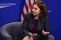 Washington, DC - June 5, 2018: Neera Tanden, president and CEO of the Center for American Progress, moderates a discussion with Montana Governor Steve Bullock at the Center for American Progress in Washington, D.C. June 5, 2018.  (Photo by Don Baxter/Media Images International)