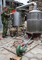 Yubei, Zhejiang, China.  Village Distillery for Making Rice Wine.