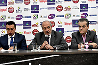 BOGOTA – COLOMBIA, 20-03-2019: Orlando Merlano (Izq.); Director del Instituto Distrital para la Recreación y el Deporte (IDRD); Ignacio Correa Sebastián (Cent.), Presidente de Colsanitas y David Londoño (Der.), Director Corporativo de Mercadeo y Comunicaciones de Claro; durante la presentación del Claro Colsanitas WTA 2019 de tenis en el auditorio Adolfo Carvajal, en Coldeportes, torneo que se realizará en las canchas del Carmel Club en la ciudad de Bogotá del 6 al 14 de abril de 2019. / Orlando Merlano (L); Director of the District Institute for Recreation and Sports (IDRD); Ignacio Correa Sebastian (C), President of Colsanitas; David Londoño (R), Corporate Director of Marketing and Communications of Claro, during the presentation of the Claro Colsanitas WTA 2019 tennis in the auditorium Adolfo Carvajal, in Coldeportes, tournament to be held in the courts of the Carmel Club in the city of Bogotá from April 6 to 14 de 2019. / Photo: VizzorImage / Luis Ramírez / Staff.