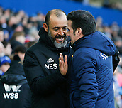 2nd February 2019, Goodison Park, Liverpool, England; EPL Premier League Football, Everton versus Wolverhampton Wanderers; Everton manager Marco Silva greets Wolves manager Nuno Espirito Santo before the game