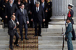 Prime Minister Mariano Rajoy (2L) currently awaiting the arrival of the coffin before the funeral chapel in honor of Prime Minister Adolfo Suarez in Congress in Madrid, Spain. March 24, 2014. (ALTERPHOTOS/Caro Marin)
