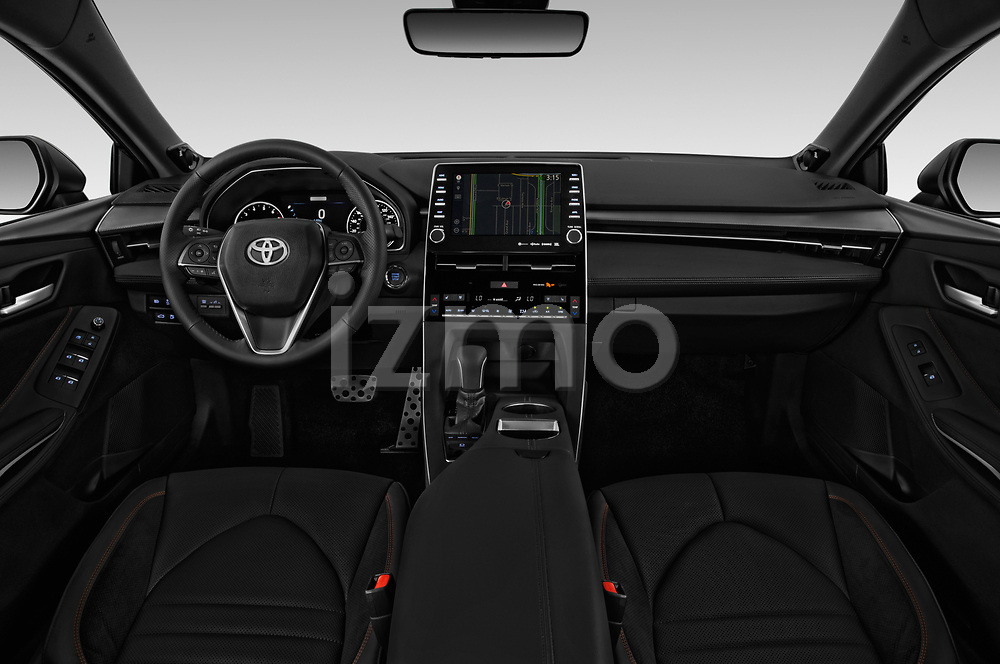 Stock photo of straight dashboard view of a 2020 Toyota Avalon Touring 4 Door Sedan