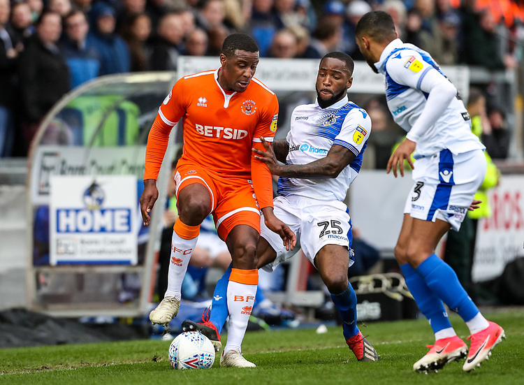 Blackpool's Donervon Daniels competing with Bristol Rovers' Abu Ogogo and Tareiq Holmes-Dennis<br /> <br /> Photographer Andrew Kearns/CameraSport<br /> <br /> The EFL Sky Bet League Two - Bristol Rovers v Blackpool - Saturday 2nd March 2019 - Memorial Stadium - Bristol<br /> <br /> World Copyright © 2019 CameraSport. All rights reserved. 43 Linden Ave. Countesthorpe. Leicester. England. LE8 5PG - Tel: +44 (0) 116 277 4147 - admin@camerasport.com - www.camerasport.com