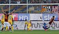Calcio, Serie A: Frosinone, stadio Comunale, 12 settembre 2015.<br /> Roma&rsquo;s Iago Falque, right, celebrates after scoring during the Italian Serie A football match between Frosinone and Roma at Frosinone Comunale stadium, 12 September 2015.<br /> UPDATE IMAGES PRESS/Riccardo De Luca