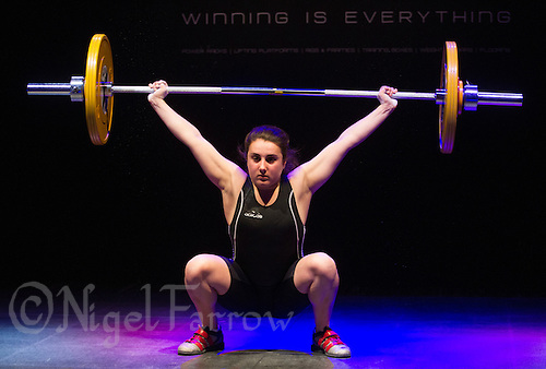 10 MAY 2014 - COVENTRY, GBR - Amber Sheppard from Crystal Palace Weightlifting Club attempts to complete a lift during the women's 58kg category round at the British 2014 Senior Weightlifting Championships and final 2014 Commonwealth Games qualifying event round at the Ricoh Arena in Coventry, Great Britain (PHOTO COPYRIGHT © 2014 NIGEL FARROW, ALL RIGHTS RESERVED)