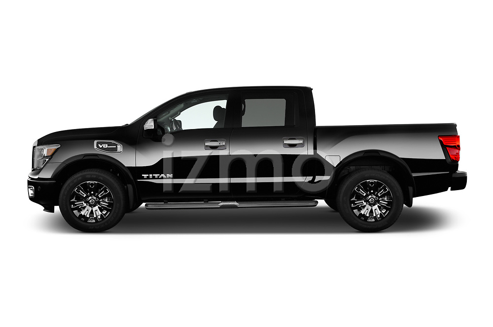Car Driver side profile view of a 2017 Nissan Titan Platinum-Reserve-Crew 4 Door Pickup Side View