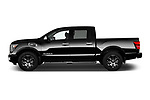 Car Driver side profile view of a 2018 Nissan Titan Platinum-Reserve-Crew 4 Door Pickup Side View