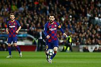 27th November 2019; Camp Nou, Barcelona, Catalonia, Spain; UEFA Champions League Football, Barcelona versus Borussia Dortmund;  Leo Messi breaks forward on the ball - Editorial Use