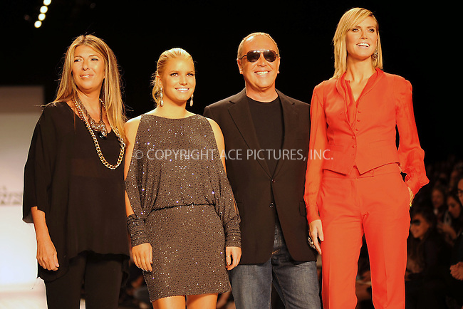 WWW.ACEPIXS.COM . . . . . ....September 9 2010, New York City....(L-R) Nina Garcia, Jessica Simpson, Michael Kors and Heidi Klum on the runway at the Project Runway Spring 2011 fashion show during Mercedes-Benz Fashion Week at The Theater at Lincoln Center on September 9, 2010 in New York City.....Please byline: KRISTIN CALLAHAN - ACEPIXS.COM.. . . . . . ..Ace Pictures, Inc:  ..(212) 243-8787 or (646) 679 0430..e-mail: picturedesk@acepixs.com..web: http://www.acepixs.com