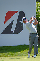 Paul Casey (ENG) watches his tee shot on 16 during 2nd round of the World Golf Championships - Bridgestone Invitational, at the Firestone Country Club, Akron, Ohio. 8/3/2018.<br />