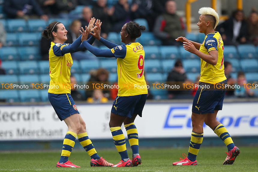 Danielle Carter of Arsenal Ladies (C) celebrates scoring the first goal - Millwall Lionesses vs Arsenal Ladies - FA Womens Challenge Cup 5th Round Football at the New Den, Bermondsey, London - 22/03/15 - MANDATORY CREDIT: TGSPHOTO - Self billing applies where appropriate - contact@tgsphoto.co.uk - NO UNPAID USE