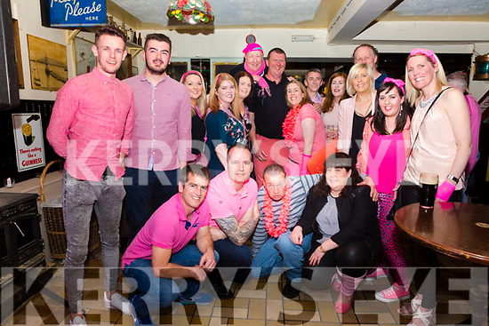 Pictured at the Pink Party in Bostons Bar in Knightstown on Sunday in aid of The Cahersiveen Hospice and the Kerry Health Link Bus were front l-r: David Hussey, Donie Coffey, Liam Grandfield, Deirdre Lyne, back l-r; Andy Quigley, Paul Curtin, Róisín Pope, Fiona Lyne, Sinead O'Connor, Aidan McWeeney, Sean Curran, Lorraine O'Connor, Declan Lynch, Theresa Walsh, Orla Lynch, Mike Walsh, Louise O'Sullivan & Mary Coffey.