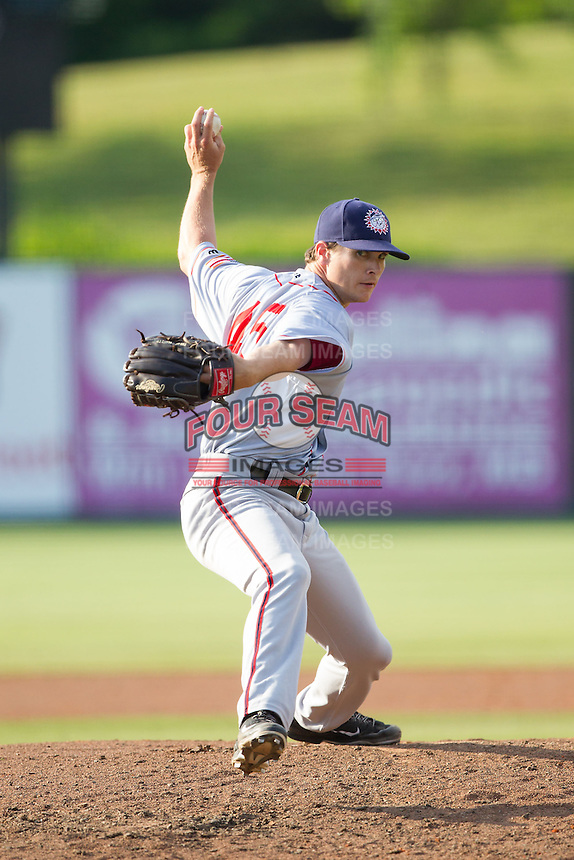 Hagerstown Suns relief pitcher Justin Thomas (45) in action against the Kannapolis Intimidators at CMC-Northeast Stadium on May 31, 2014 in Kannapolis, North Carolina.  The Intimidators defeated the Suns 3-2 in game one of a double-header.  (Brian Westerholt/Four Seam Images)