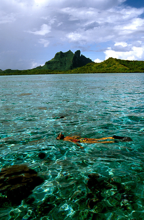 Cruising: South Pacific, Bora Bora, Snorkeling, model released, Photo: crupac101  .Photo Copyright: Lee Foster, (510) 549-2202, lee@fostertravel.com, www.fostertravel.com