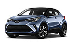 Stock pictures of low aggressive front three quarter view of a 2020 Toyota C-HR Club 5 Door SUV