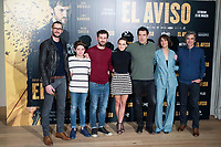 "Sergio Mur, Hugo Arbues, Raul Arevalo, Aura Garrido, director of the film Daniel Calparsoro, Belen Cuesta a producer attends to the presentation of the film ""El Aviso"" at URSO Hotel in Madrid , Spain. March 19, 2018. (ALTERPHOTOS/Borja B.Hojas) /NortePhoto.com"